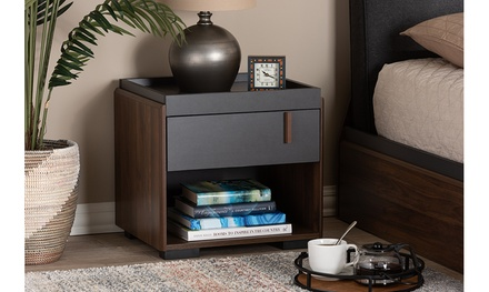 Rikke Two-Tone Gray and Walnut Finished Wood Nightstand or Dresser