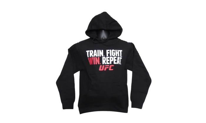 UFC Train Fight Win Repeat Adult Pullover Hooded Sweashirt