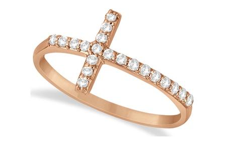 Modern Sideways Diamond Cross Fashion Ring in 14k Rose Gold (0.20ct) a4b49f2e-b400-446f-9efb-20bc2840d777