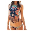 Women Retro Halter Neck Fringe Bikini Swimsuit