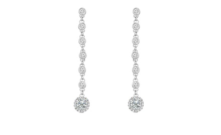 2.06 ct Ladies Round Cut Diamond Drop Dangling Earrings In 14 Kt White Gold