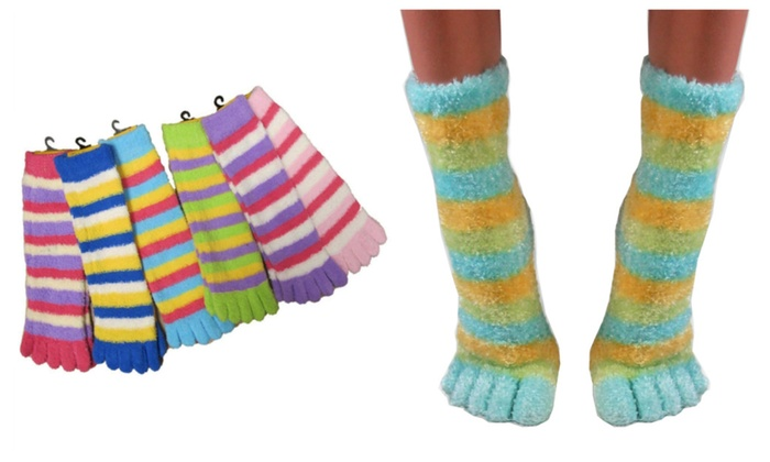 Fuzzy and Colorful Womens Chenille Toe Socks, Various Colors