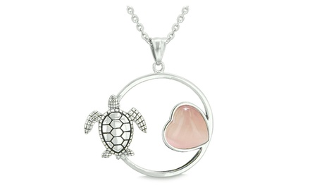 Amulet Cute Sea Turtle Magic Circle Heart Medallion Positive Powers Pendant Necklace