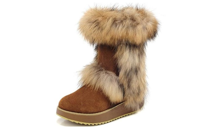 MILANAO Women's Casual Style Fox Fur Leather Snow Boots