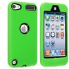 Insten Neon Green Deluxe Hybrid Hard Gel Case Cover For iPod Touch 5th