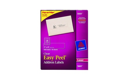 Avery Easy Peel Clear Address Labels for Laser Printers, 1 x 4 Inch, Box of 1000 (05661)