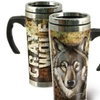 American Expedition Gray Wolf 24 oz Steel Travel Mug Graphic