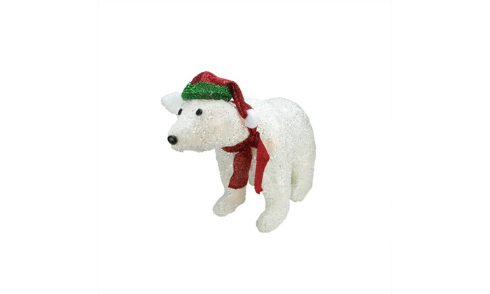 23 Lighted White Plush Glittered Polar Bear Xmas Yard Art Decoration