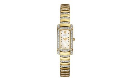 Women's Bulova Crystal Accented Watch with Rectangular Dial and Gold Tone Stainless Steel
