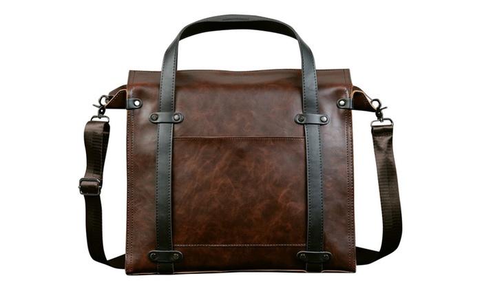 Shefetch Men's Vintage Multi-pockets Leather Business Handbag