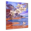White Orchid with Sea Floral Metal Wall Art 12x28