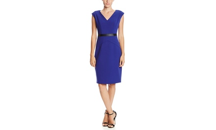 KASPER Cap Sleeve V-Neck Dress with Waist Detail