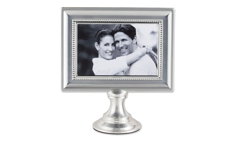 4x6 Brushed Silver Plated Metal Pedestal Picture Frame d3926f4e-4efa-4d3e-a274-d7bad673b859