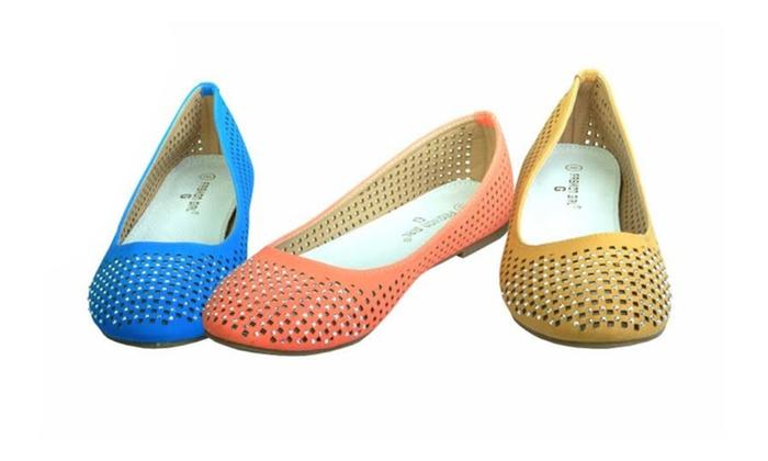 Woman's Stud Embellished Flats Shoes