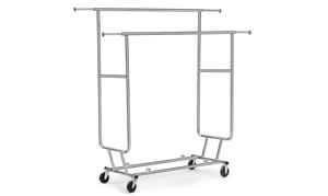 Topeakmart Clothing Rack Rolling Garment Hanger Commercial Grade Shirt