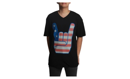 Rock on American Flag V-neck