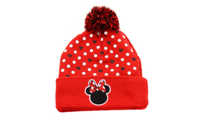Red Black Disney Minnie Mouse Polka Dot Pom Cold Weather Beanie Hat
