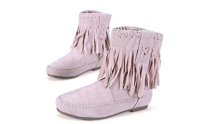 Fringe Fashion Tassel Mid Women Snow Combat Cool Boots Large size