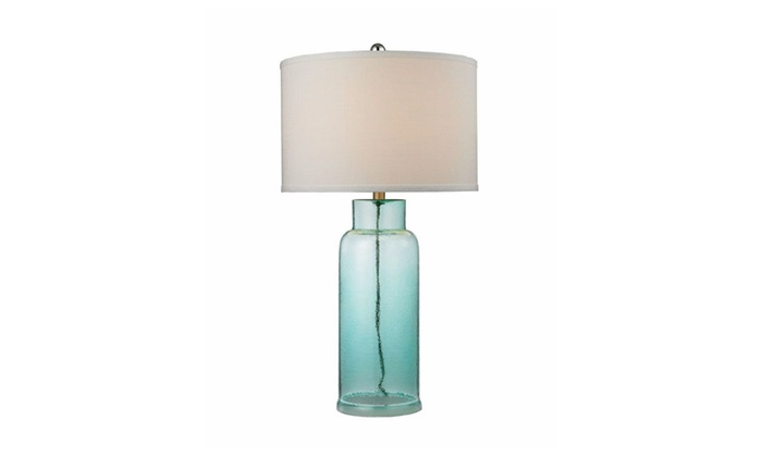 Dimond Lighting Glass Bottle Table Lamp in Seafoam Green White Shade