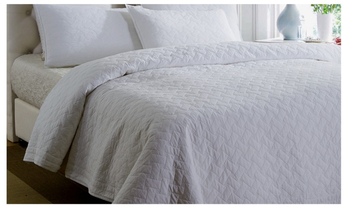 Amy Store: White 100% Cotton Matelasse Bedspread Set Quilt Set Coverlet Set  Queen ...