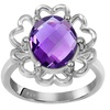 Orchid Jewelry Sterling Silver 3 1/10 CT Amethyst Gemstone Floral Ring
