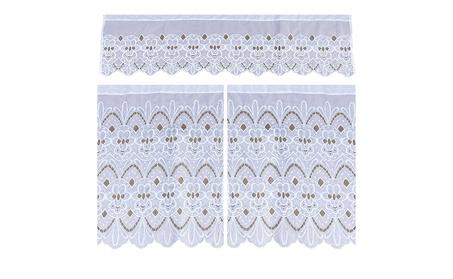 3pc Floral Kitchen Sheer Valence Window Curtain Drapes 30x36 60x18 6b3ea6ba-72ca-4d30-9d53-b93cfe4feab8