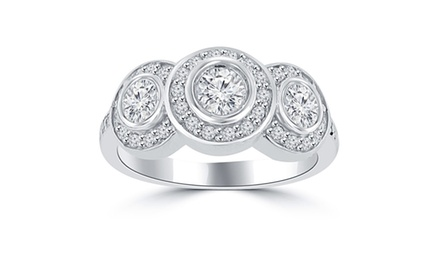 1.90 ct Ladies Three Stone Round Cut Diamond Anniversary Wedding Band Ring in 14 kt White Gold