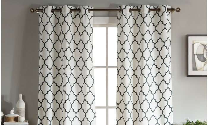 Geometric Linen Window Curtains 96 Inch And 112