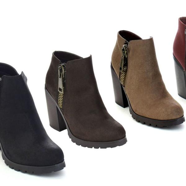 1b1104d7cdd80 Soda Daily-s Women's Chunky Heel Bold Zipper Comfort Ankle Booties