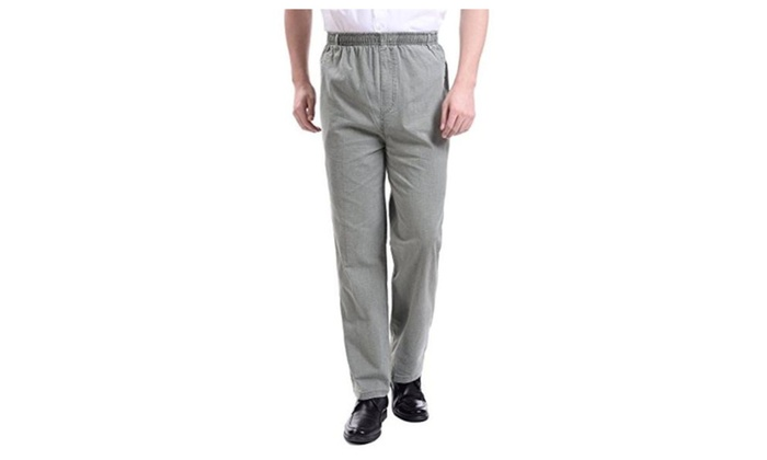 Soyoo Men's Closed Front Casual Cotton Linen Pant Elastic Waist High Rise
