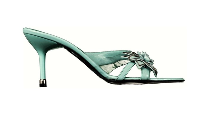 Versani 2017 Leather Heels Flower Sandal Womens Shoes Blue 7.5