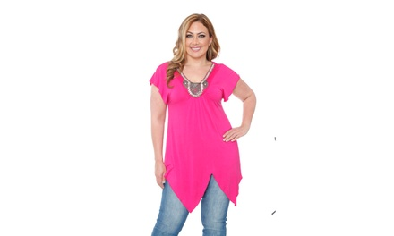 Fuchsia Plus Size  Grace Embellished Top/Tunic