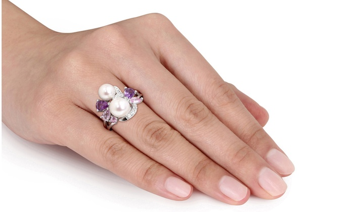 Silver Ring With Multi Gemstone Amp Freshwater Pearl Groupon