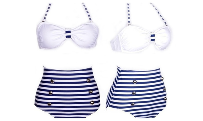 Women's Summer Beach Strip Halter High Waist Design 2 Piece Swimsuit