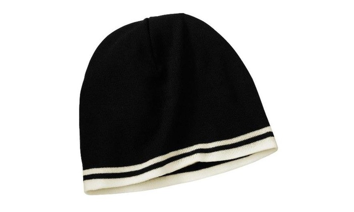 75625142660 Port   Company CP93 Fine Knit Skull Cap with Stripes Black   Natural - One  Size Black   Natural . Label acrylic