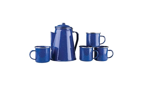 Enamel 8-Cup Coffee Pot with Percolator & Four 12oz Mugs 8e4f40f5-2be0-422a-9979-a29c0c99e927