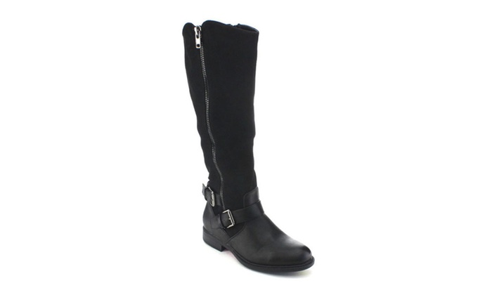 Pita-31 Women Buckle Elastic Knee High Riding Boots