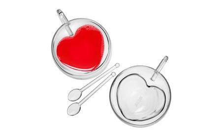 Set 2 Heart Shaped Double Wall Glass Teacup Coffee Mug with Teaspoon b5a975f2-e530-401e-858a-9ead758e862a