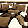 Micro Suede Black Brown White Patchwork 7-Piece Comforter Set