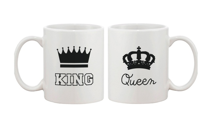 King and Queen Couple Coffee Mug Matching Mugs Gift for Couples
