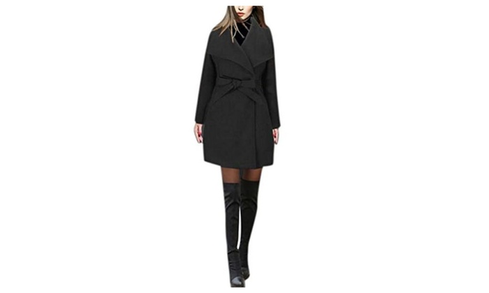 Womens Thick Wool Long Trench Overcoat Lapel Belt Warm Jacket Coat