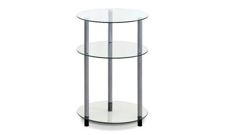 Furinno FTD0406G Kaca Glass 3-Tier Side Table, Clear 7dc5d777-f717-4d26-84f0-56b5b1032efe