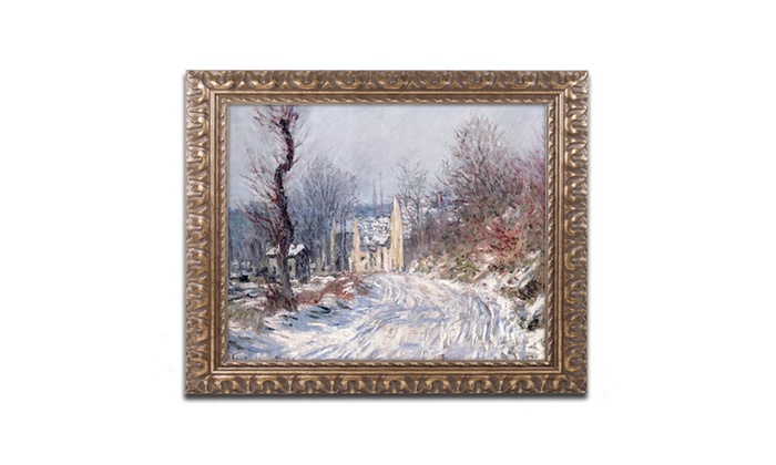 Groupon Goods: Monet 'The Road of Giverny Winter 1885' Ornate Framed Art