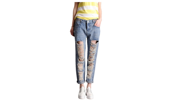 Women's Fashion Cuff Ripped Skinny Jeans
