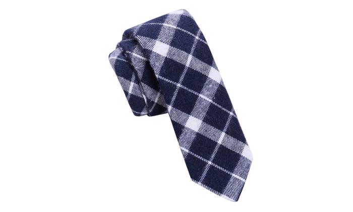 Skinny Tie Madness Men's Slappy Navy Plaid Skinny tie