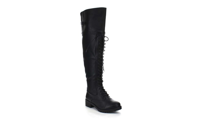 Ba08 Women'S Lace Up Lug Sole Buckle Detail Over The Knee Combat Boots