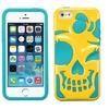 Insten Pearl Yellow/Teal Green Skullcap Hybrid Cases iPhone 5 5s