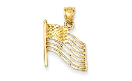 IceCarats Designer Jewelry 14K American Flag Pendant