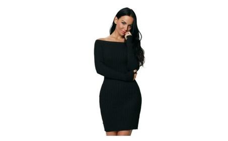 Women Long Sleeve Rib Knit Sweater Dress d7d1e1f6-fb75-4e19-ac4a-d2d1a9826335