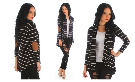 Women's Striped Open Cardigan With Suede Elbow Patches
